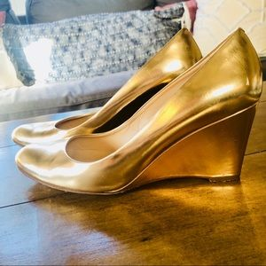 "{J. Crew} Patent Leather Gold 3"" Wedge Heels - 9.5"